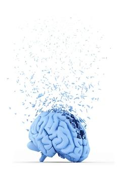 Cervello umano in frantumi. concetto di stress. isolato