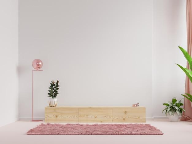 Mensola nella moderna stanza vuota, design minimale, rendering 3d Foto Premium
