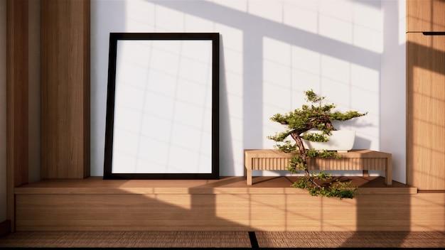 Scaffale a parete design interno zen del salotto in stile giapponese. rendering 3d