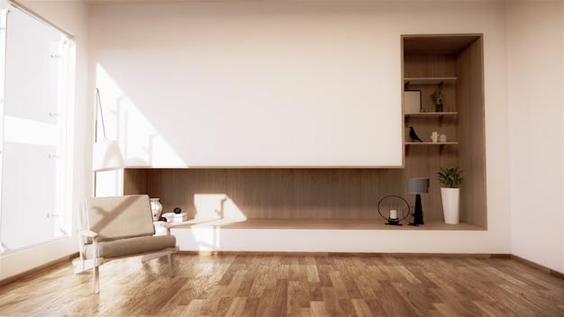 Scaffale a parete nella moderna stanza vuota giapponese e poltrona dal design minimale. rendering 3d