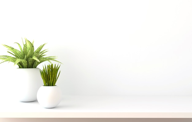 Mensola sul muro bianco con piante verdi. illustrazione 3d