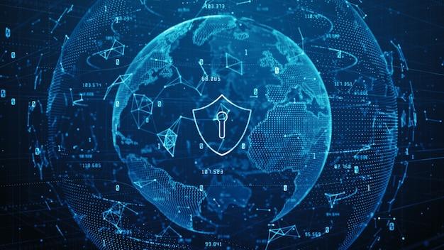 Icona scudo di dati digitali di sicurezza informatica Foto Premium