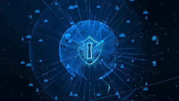 Icona scudo su secure global network, sicurezza informatica e protezione del concetto di dati personali. elemento terrestre fornito dalla nasa