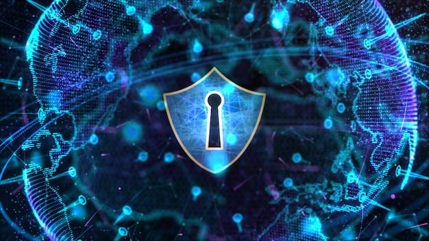 Icona scudo su rete globale sicura, sicurezza informatica e protezione del concetto di dati digitali personali