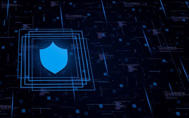 Icona scudo su sfondo tecnologico con elementi di codice e linee di luci