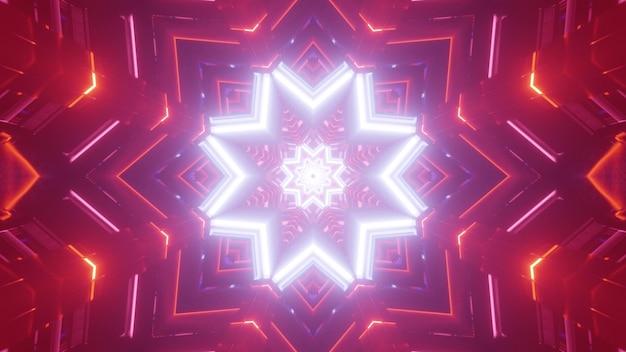 Shiny abstract 3d illustrazione di luminoso neon bianco a forma di stella ornamento con incandescente sfondo rosso con geometrica