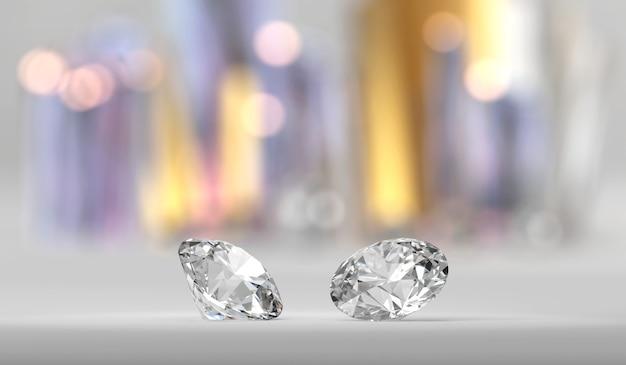 Coppia di diamanti brillanti brillanti, rendering 3d