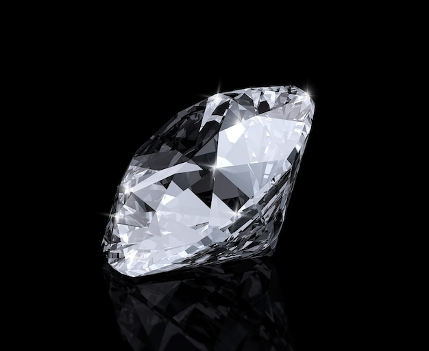 Diamante brillante su sfondo nero