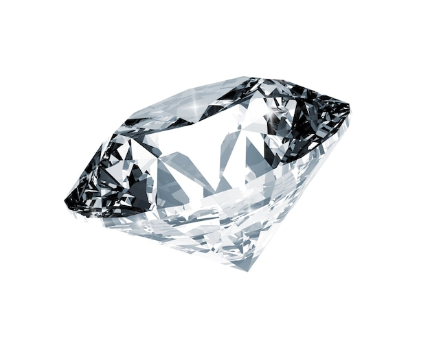 Diamante brillante su sfondo bianco