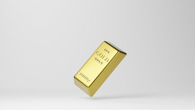 Lingotti d'oro lucido isolati su sfondo bianco. concetto di attività bancaria e ricchezza.