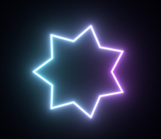 Render di forme geometriche di luce con cornice a stella al neon lucente
