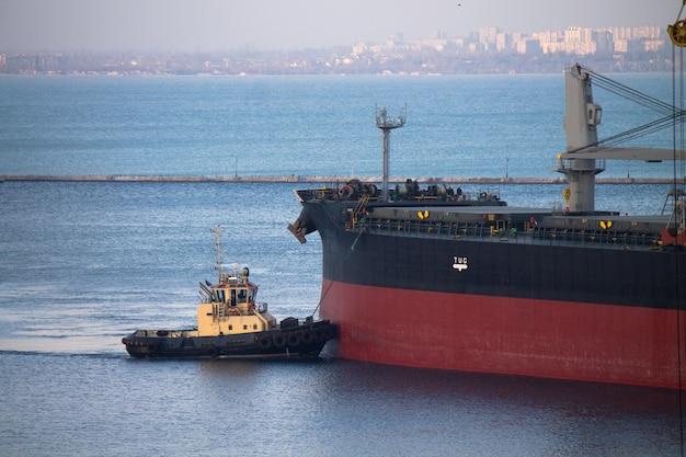 Attracco della nave in porto con assistenza al rimorchiatore su fune di ormeggio con città sullo sfondo