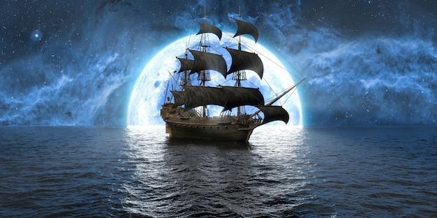 Nave in mare sullo sfondo della luna e del bel cielo, illustrazione 3d