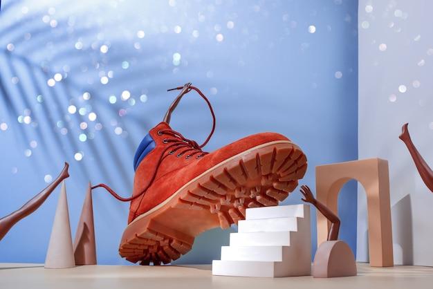 Concetto di scarpa, stivali rossi sulle scale, gambe e mani di donne africane, ombra di palma sul muro blu, arco e altre forme geometriche.