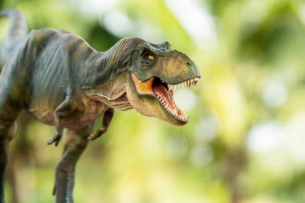 Ripresa del dinosauro tyrannosaurus rex su uno sfondo di natura selvaggia Foto Premium