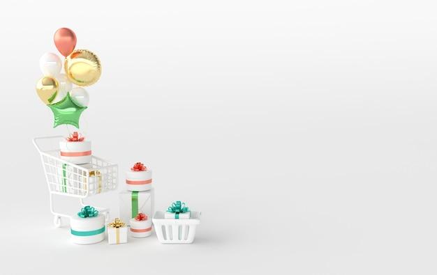 Cestino della spesa e carrello con scatola regalo e palloncini colorati su sfondo bianco. rendering 3d