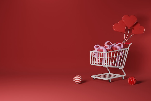 Il carrello è pieno di scatole regalo e forme d'amore tirate su da palloncini d'amore. concetto di design di san valentino - rendering 3d