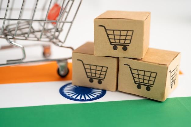 Logo del carrello con la bandiera del brasile acquisti online import export finance