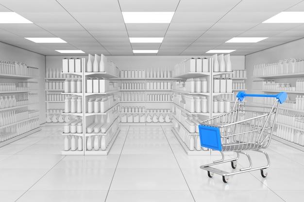 Carrello della spesa vicino allo scaffale del mercato con prodotti vuoti o merci in stile argilla come primo piano estremo interno del supermercato. rendering 3d.