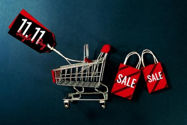 Carrello e borsa della spesa, vendita di fine anno, concetto di vendita di 11.11 single giorno
