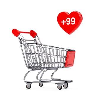 Carrello della spesa carrello con l'etichetta del cuore dell'ordine, dei desideri o della lista della spesa su sfondo bianco. rendering 3d