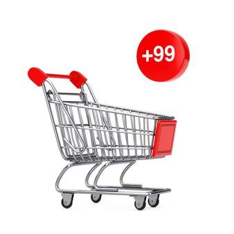 Carrello della spesa carrello con l'ordine, il desiderio o l'etichetta della lista della spesa su sfondo bianco. rendering 3d