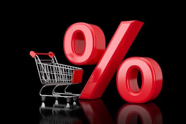 Carrello carrello con rosso percentuale di vendita o sconto segno su sfondo nero. rendering 3d
