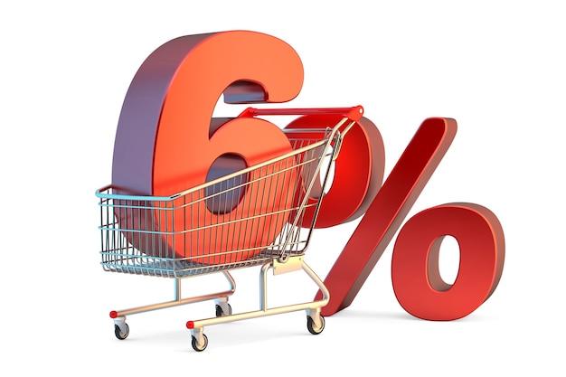 Carrello della spesa con il segno di sconto del 6 percento 3d illustrazione isolata