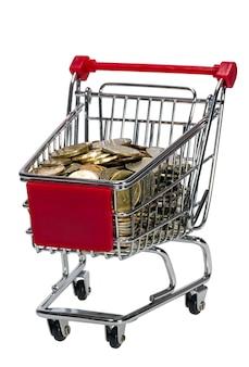 Carrello della spesa con denaro isolato su sfondo bianco