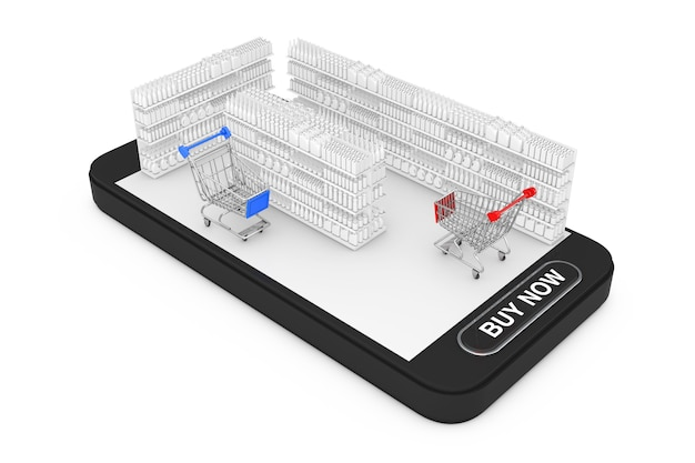 Carrelli della spesa vicino a scaffalature di mercato con prodotti vuoti o merci in stile argilla come interni del supermercato su smartphone cellulare con pulsante ma ora su sfondo bianco. rendering 3d