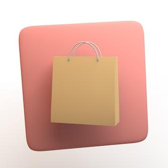 Icona dello shopping con borsa della spesa isolato su priorità bassa bianca. app. illustrazione 3d.