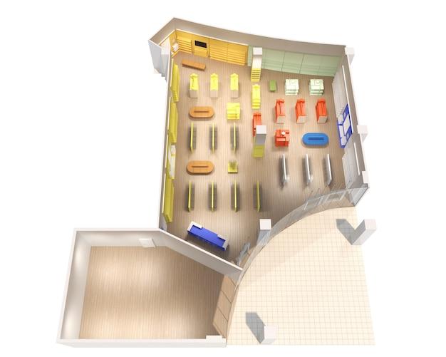 Centro commerciale visualizzazione interna illustrazione 3d rendering cg