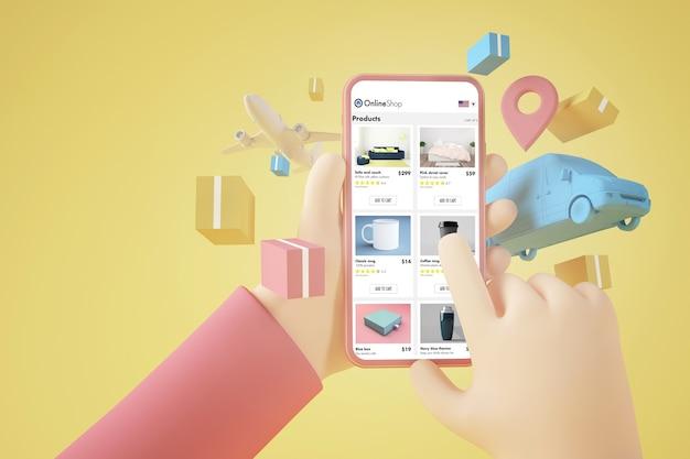 Rendering 3d di concetto online di acquisto