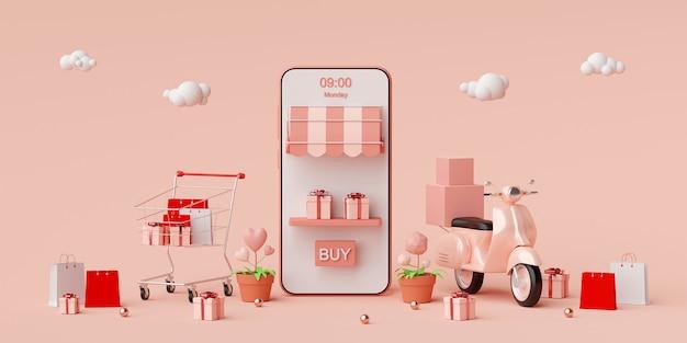 Shopping online e servizio di consegna su applicazione mobile