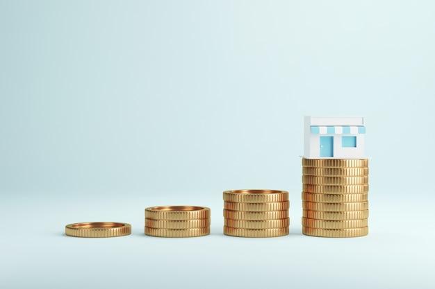 Negozio per la spesa in cima a pile di monete in crescita