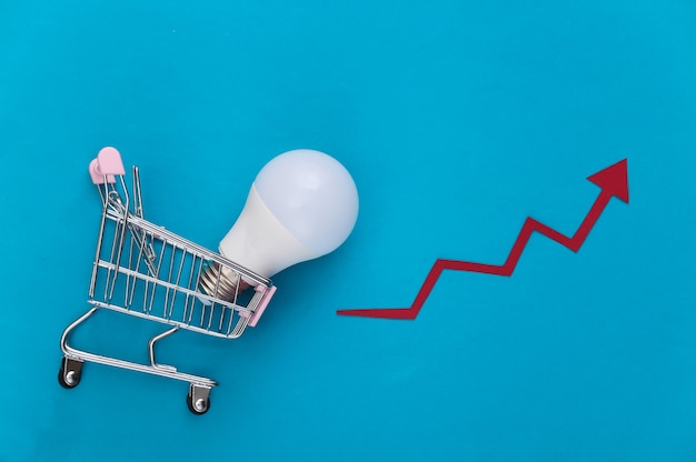 Carrello della spesa con lampadina, freccia di crescita su un blu