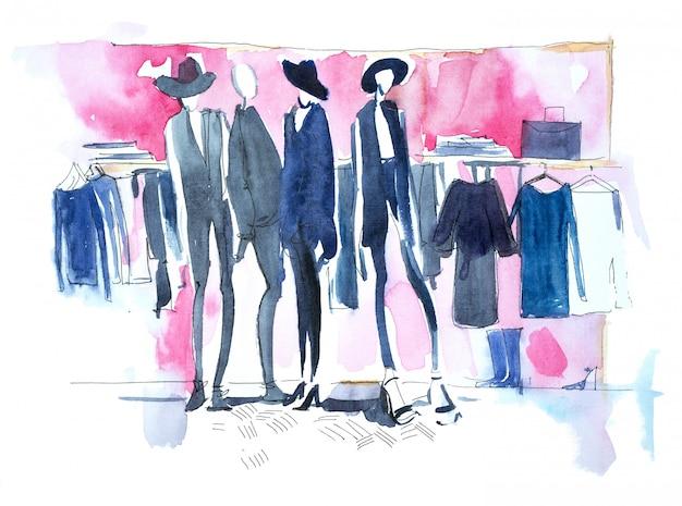 Shopping donna nel negozio di abbigliamento illustrazione ad acquerello