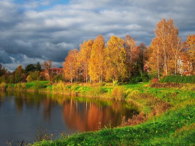 La riva di un lago autunnale con il riflesso di alberi dorati nell'acqua. un pittoresco paesaggio autunnale con un laghetto.