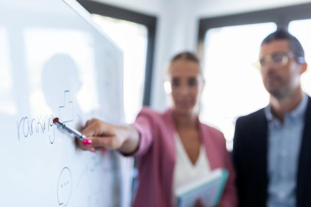 Scatto di una giovane donna d'affari elegante che indica una lavagna bianca e spiega un progetto ai suoi colleghi in un luogo di coworking.