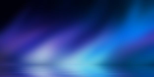 Mostra lo sfondo del palcoscenico vuoto sfondo astratto scuro riflesso della luce al neon sull'acqua