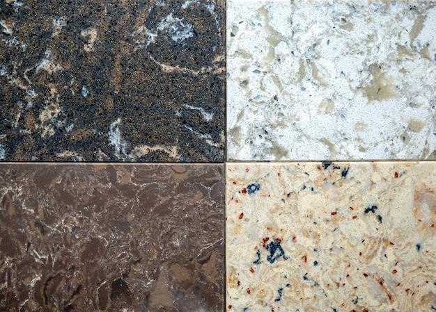 Vetrina con campioni di struttura in pietra decorativa di marmo naturale per interni