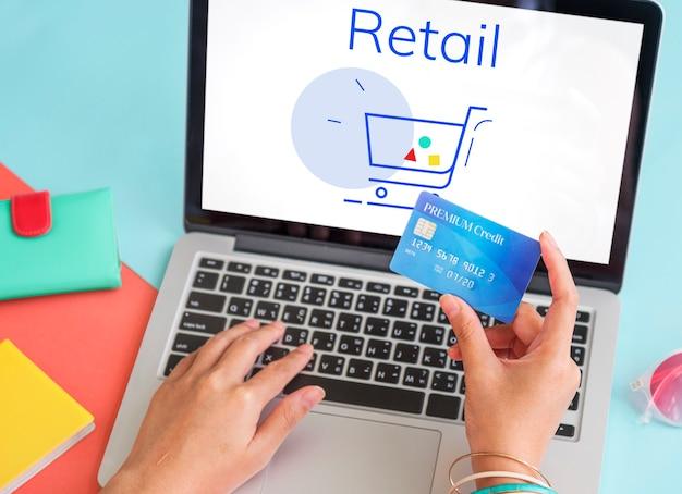 Visualizzazione della grafica del segno del carrello degli acquisti online del carrello