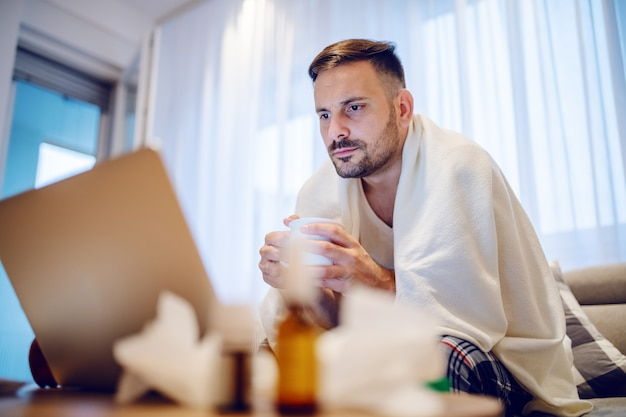 Impiegato serio malato in pigiama coperto di coperta che beve tè e che esamina computer portatile mentre sedendosi sul sofà in salone.