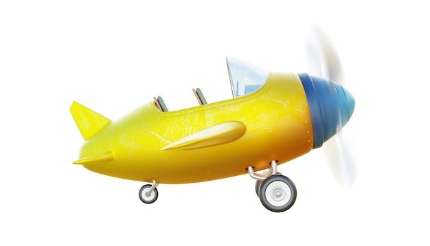Vista di angolo laterale del retro aeroplano giallo e blu sveglio di due posti isolato su fondo bianco.