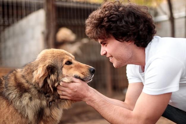 Vista laterale dell'uomo allegro con capelli ricci che accarezzano il cane peloso mentre lavorava come volontario in un ricovero per animali