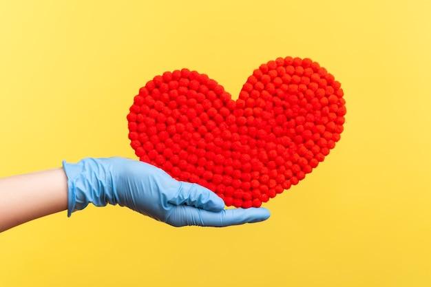 Primo piano di vista laterale della mano umana in guanti chirurgici blu che tengono in mano una piccola forma di cuore rosso.