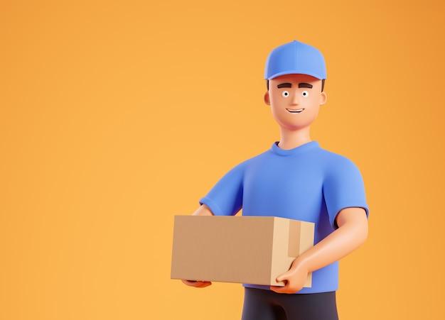 Vista laterale al corriere felice del fumetto uomo in maglietta blu e cappuccio che tiene scatola di cartone sopra fondo giallo con lo spazio della copia. illustrazione di rendering 3d.