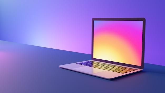 Vista laterale del computer portatile sul tavolo con luci al neon