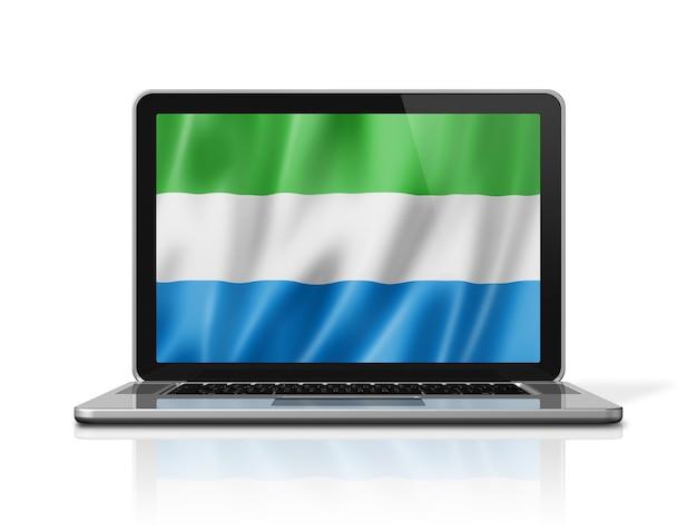 Bandiera della sierra leone sullo schermo del computer portatile isolato su bianco. rendering di illustrazione 3d.