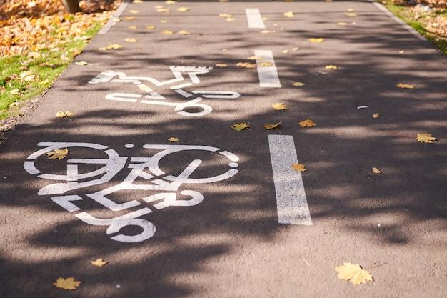Un segno per i ciclisti disegnato da vernice bianca su una strada in un parco